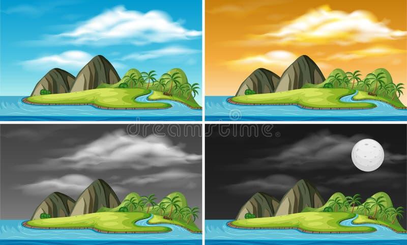 Een reeks van eiland in verschillende tijd stock illustratie