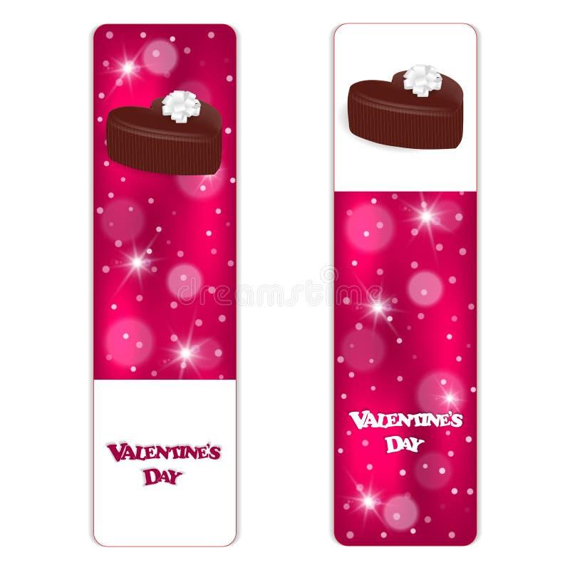 Een reeks van feestelijke rode banner twee met witte verticale rammen en chocolade in de vorm van harten vector illustratie