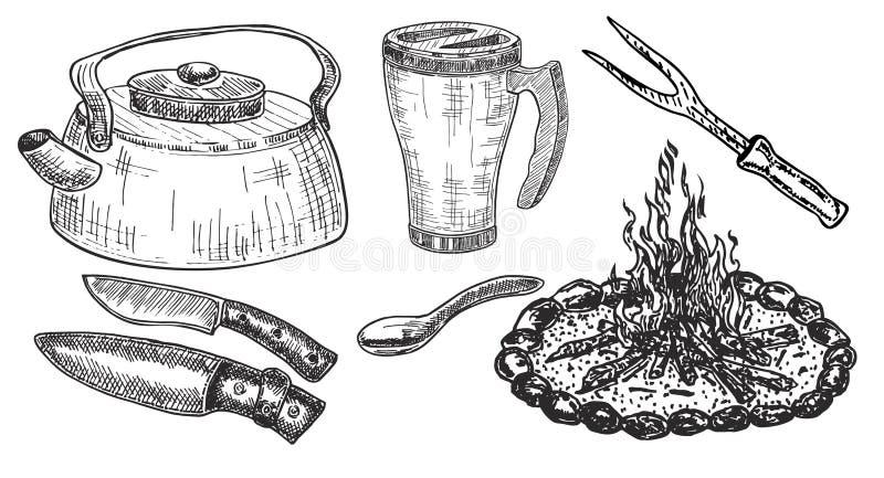 Een reeks van gevarieerd cookware Het kamperen werktuigen uitstekend illustratiekeukengerei stock illustratie