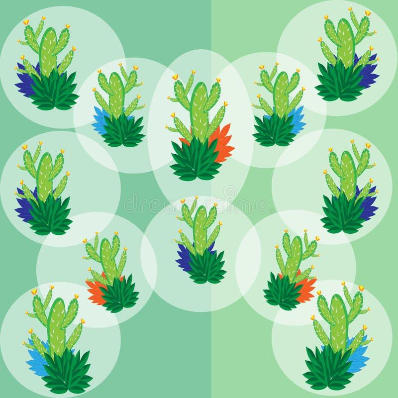 Een reeks van groene cactus in de witte transparante ballons royalty-vrije illustratie