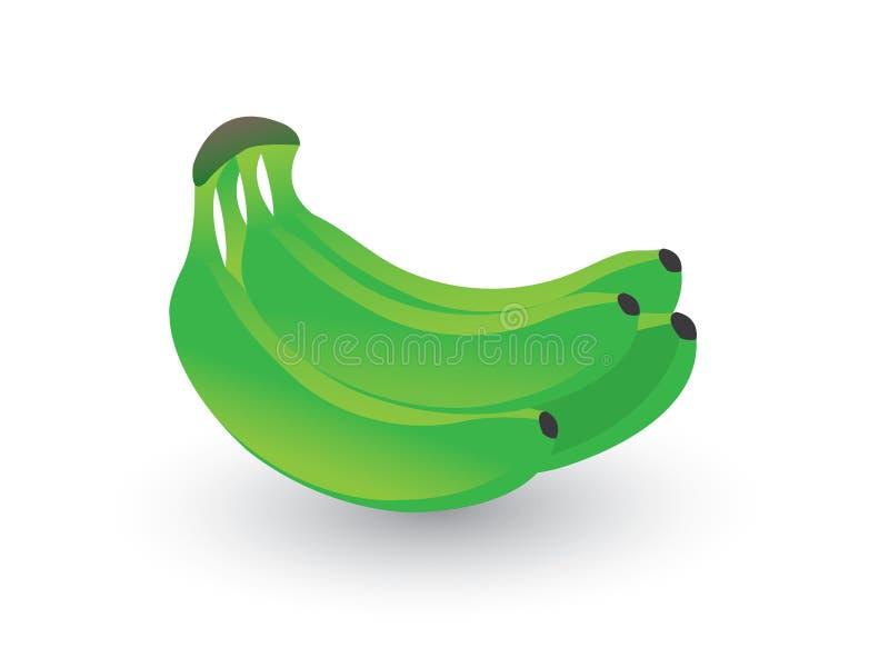 Een reeks van groene verse banaan op witte achtergrond stock illustratie