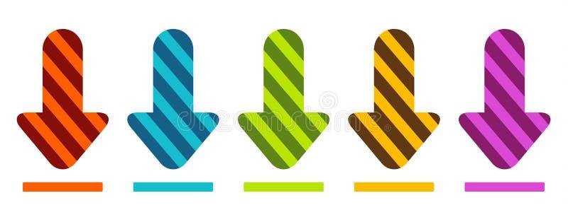 Een reeks van het gekleurde pijlen tonen neer of download stock illustratie