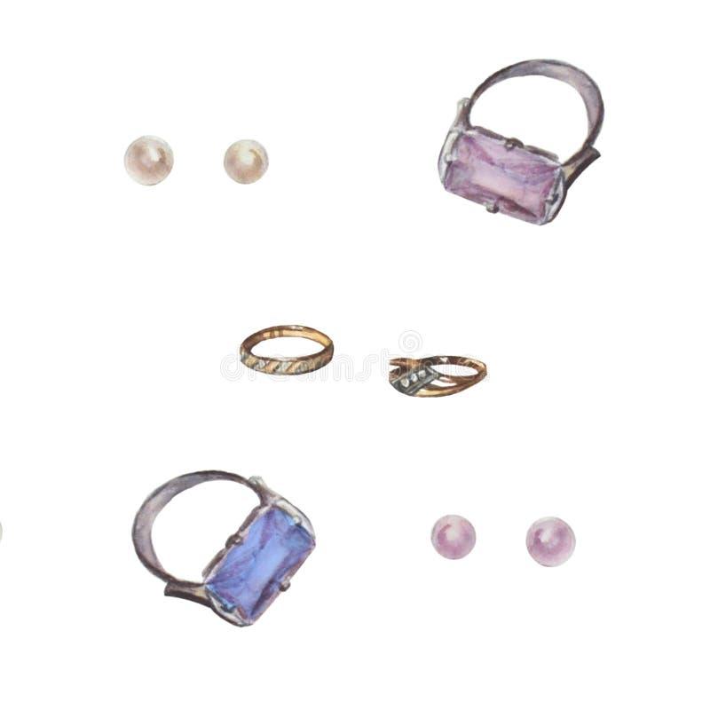 Een reeks van juwelen Mooie glanzende die ringen op wit worden geïsoleerd royalty-vrije illustratie