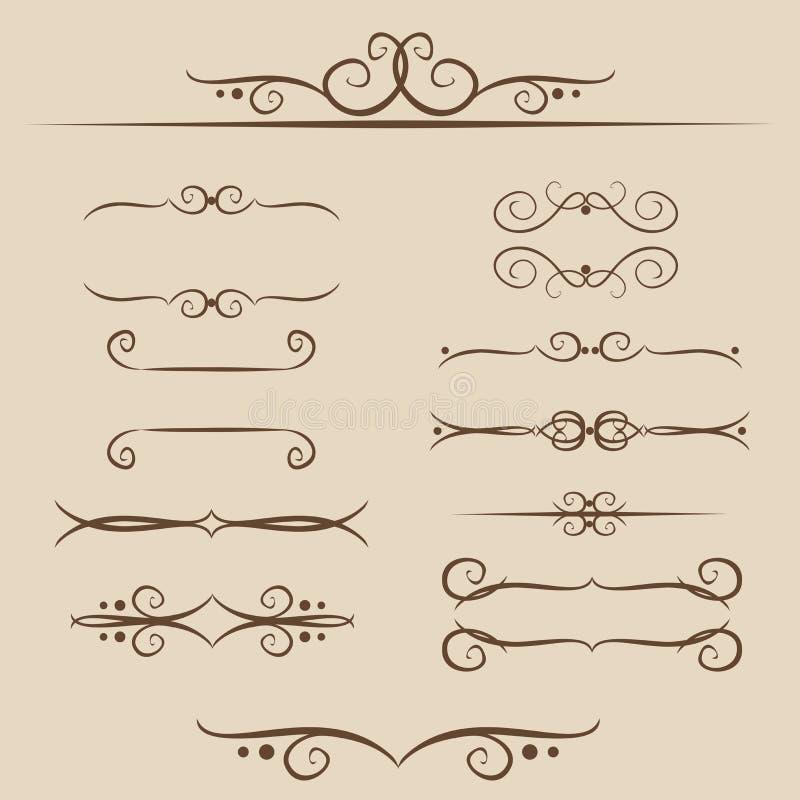 Een reeks van kaders, ornamentenmonogrammen voor Tekst en Web in vector royalty-vrije illustratie