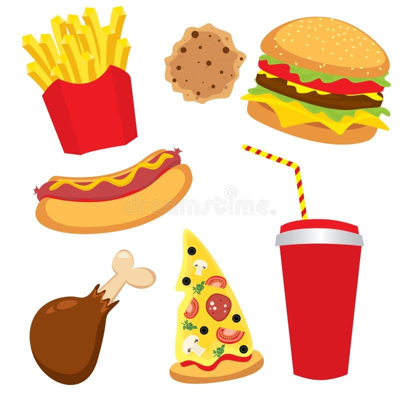 Een reeks van kleurrijk snel voedsel Hotdog, cheeseburger of hamburger, een glas soda, Frieten, ham, een plak van pizza en koekje royalty-vrije illustratie