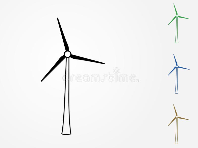 Een reeks van kleurrijke moderne windmolensvector om elektriciteit van wind op witte achtergrond voor illu van de duurzame energi royalty-vrije illustratie
