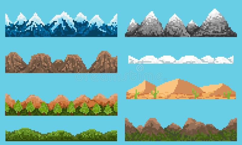 Een reeks van landschap van het pixel het naadloze element stock illustratie
