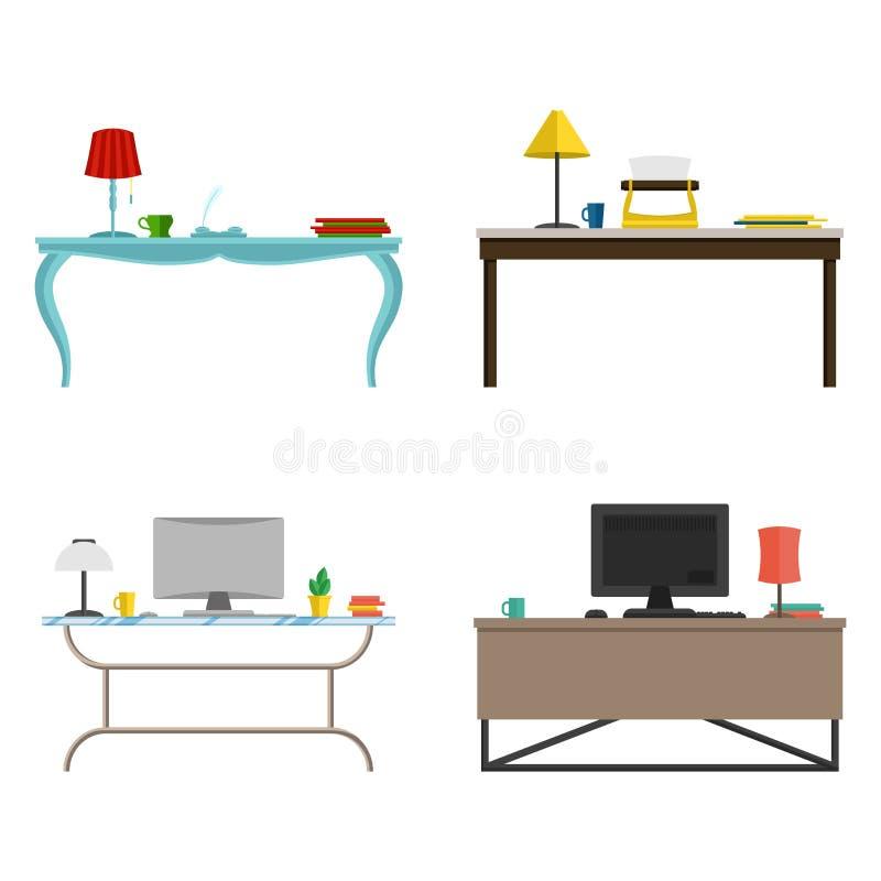 Een reeks van meubilair voor het kabinet bureauwerkplaats in verschillende stijlen Vector vlakke illustratie vector illustratie