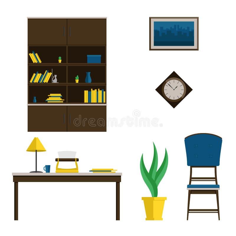 Een reeks van meubilair voor het kabinet in de stijl van het midden van de eeuw Vector vlakke illustratie Het binnenland van de r royalty-vrije illustratie