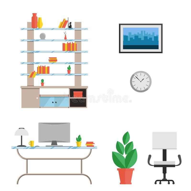 Een reeks van meubilair voor het kabinet in een moderne high-tech stijl Vector vlakke illustratie Het binnenland van de ruimte royalty-vrije illustratie