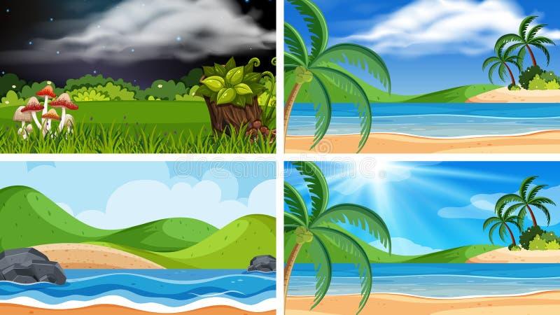 Een reeks van openluchtscène met inbegrip van strand royalty-vrije illustratie