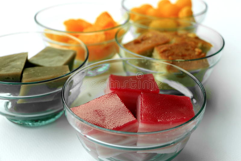 Een reeks van Thais traditioneel dessert stock fotografie