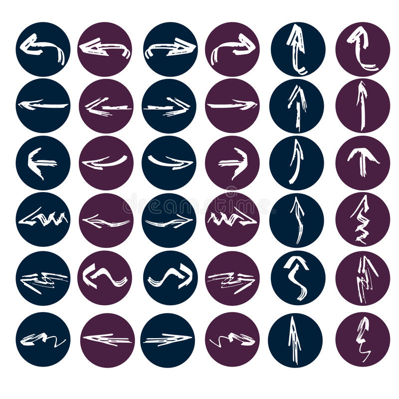 Een reeks van twaalf pijlen Vlak Ontwerp vector illustratie