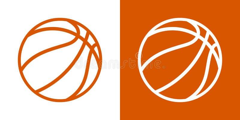Een reeks van twee opties voor eenvoudige pictogrammen, contour, ballen voor basketbal Op een witte en oranje achtergrond stock illustratie
