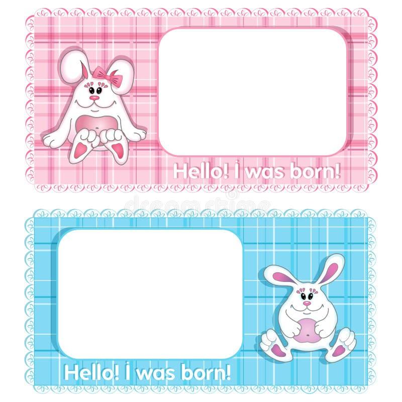 Een reeks van twee vector achtergrondverjaardagskaart voor kind Blauwe leuke konijntjesjongen en roze meisje op een achtergrond m stock afbeeldingen