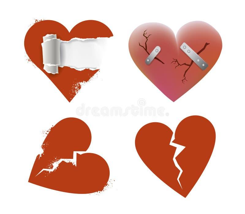 Een reeks van vier gebroken harten vector illustratie
