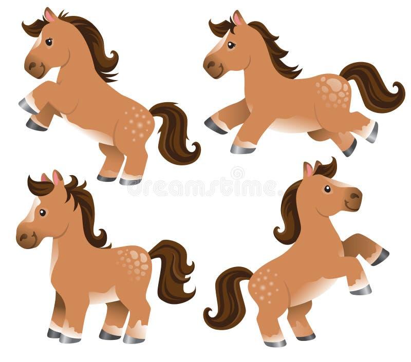 Een reeks van vier leuke beeldverhaalpaarden vector illustratie