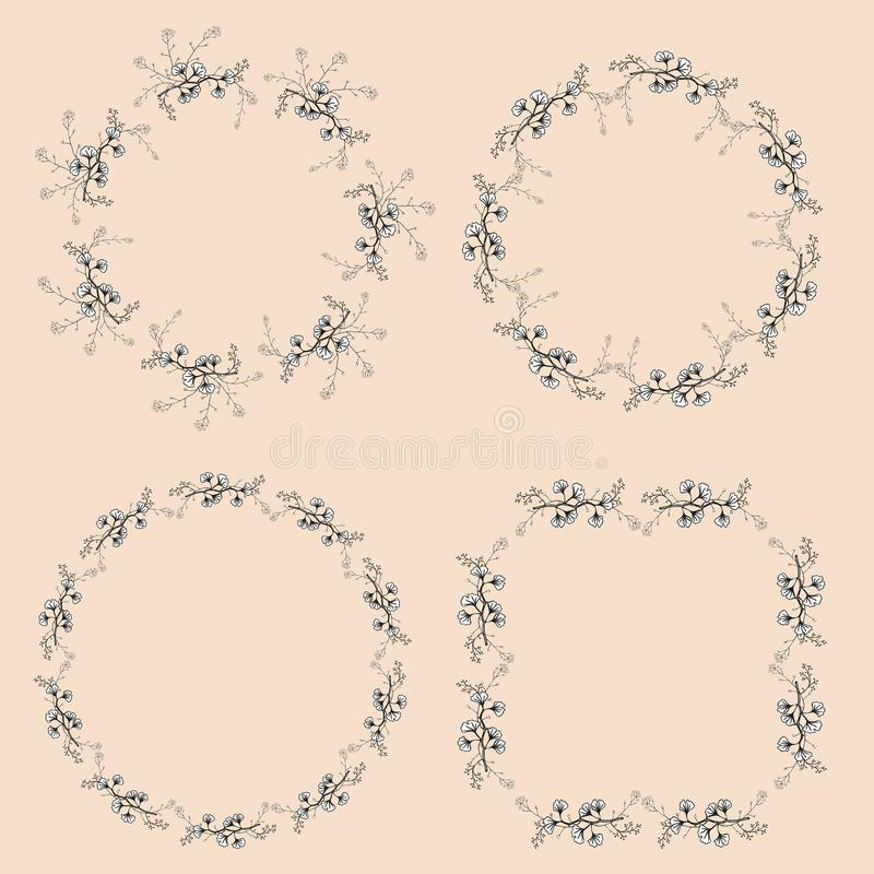 Een reeks van vier sneed uitstekende openwork kronen De zwart-witte vectortakken van de handtekening met bladeren royalty-vrije illustratie