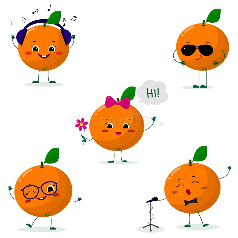 Een reeks van vijf sinaasappelen Smiley in verschillend stelt in een beeldverhaalstijl vector illustratie