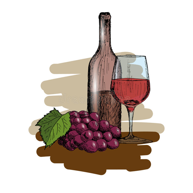 Een reeks van wijn Een glas, een fles en een bos van Vectorillustratie van de druiven de Uitstekende Hand Getrokken Schets stock illustratie