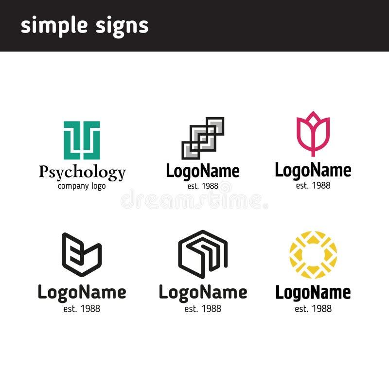 Een reeks van zes eenvoudige emblemen stock illustratie