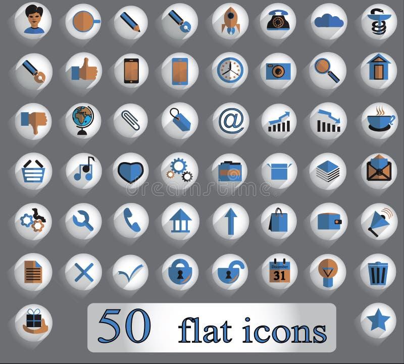 Een reeks vlakke creatieve vectorpictogrammen op grijze achtergrond 50 stukken stock illustratie