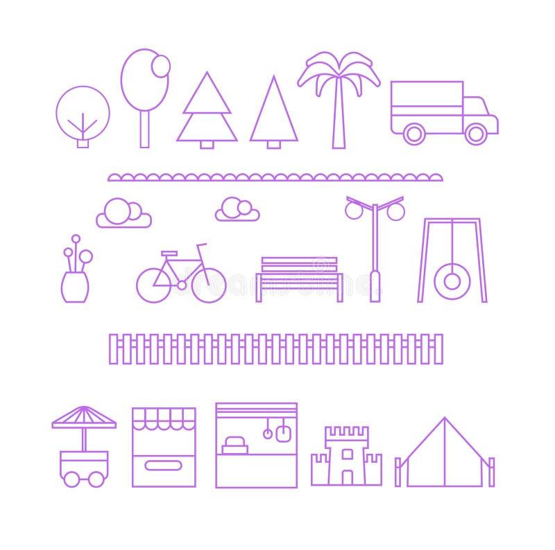 Een reeks vlakke minimalistic dunne lijnelementen voor een modern stadsbouw en een ontwerp Bomen, winkels, auto, fiets, omheining vector illustratie
