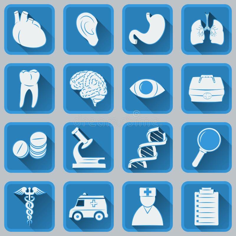 Een reeks vlakke vierkante pictogrammen over medische onderwerpen Blauw en grijs kleuren in ontwerp stock illustratie