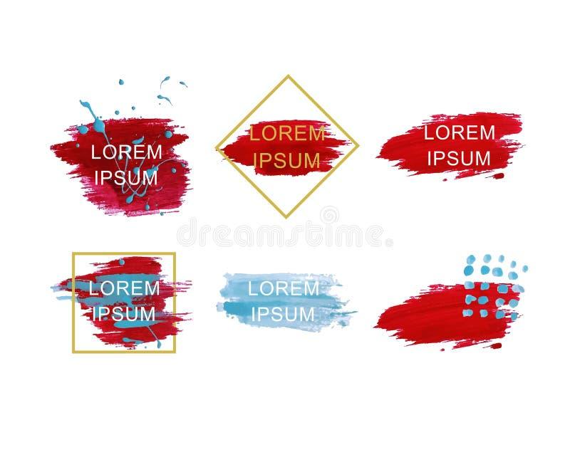 Een reeks vlekken van blauwe en rode verf Reeks vectorslagen van de inkt grunge borstel stock illustratie