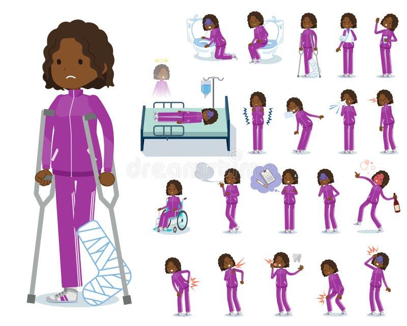 Een reeks vrouwen in sportkleding met verwonding en ziekte Er zijn acties die afhankelijkheid en dood uitdrukken Het is vectorkun royalty-vrije illustratie