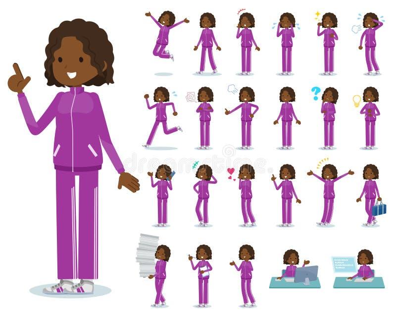 Een reeks vrouwen in sportkleding met wie diverse emoties uitdrukken Er zijn acties met betrekking tot werkplaatsen en personal c royalty-vrije illustratie