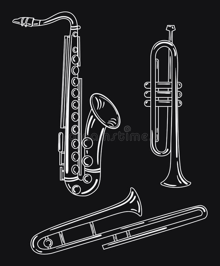 Een reeks wind muzikale instrumenten Inzameling van muzikale pijpen Messings muzikale instrumenten Zwart-witte vector royalty-vrije illustratie