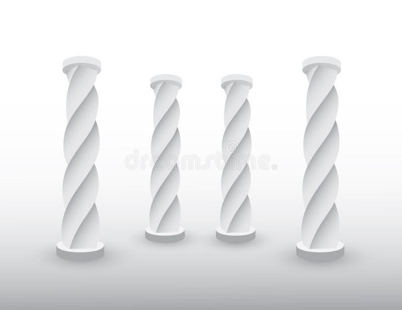 Een reeks witte pijlers of kolommen van het inbouwen van voorhistorische periode op bevroren oppervlakte vectorillustratie royalty-vrije illustratie
