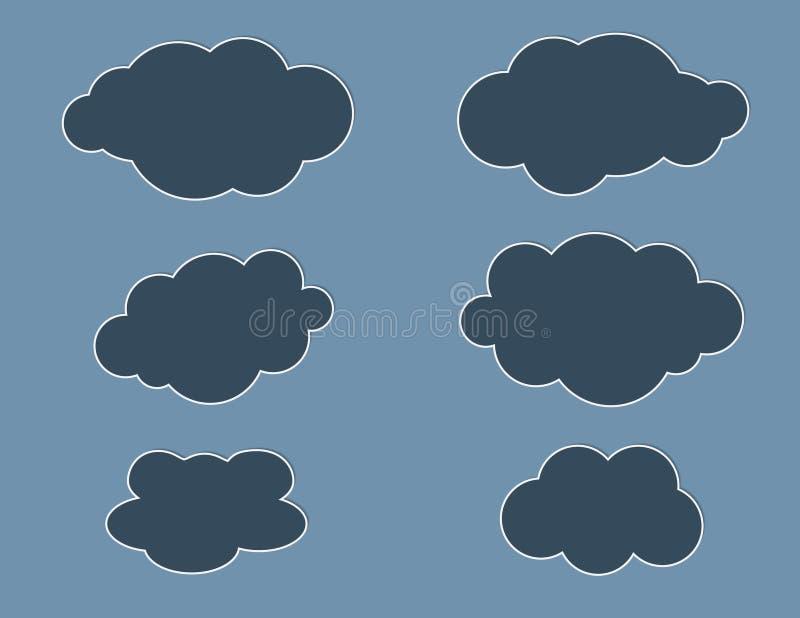 Een reeks zwarte illustraties van kleuren grafische wolken op donkerblauwe vector als achtergrond vector illustratie