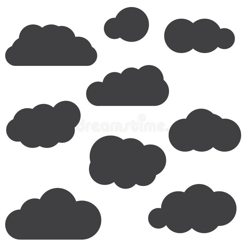 Een reeks zwarte wolkenpictogrammen in een in vlak die thema wordt geïsoleerd van royalty-vrije illustratie