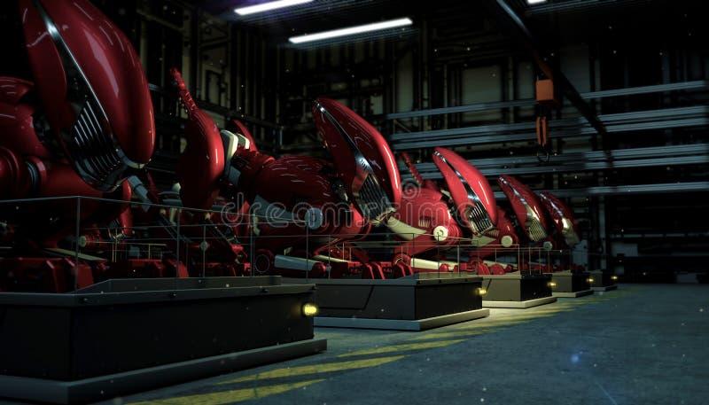 Een reeksrij van grote rode robots in de kracht van een radioactieve neerslag op voetstukken in de winkelvloer bij nacht Futurist stock illustratie