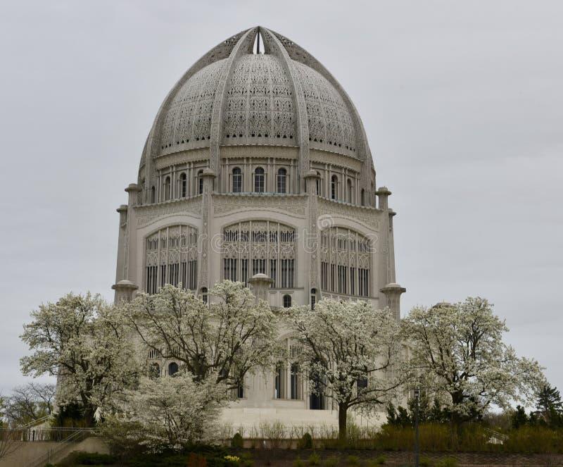 Een Regenachtige Dag bij de Tempel van Baha ` i stock foto