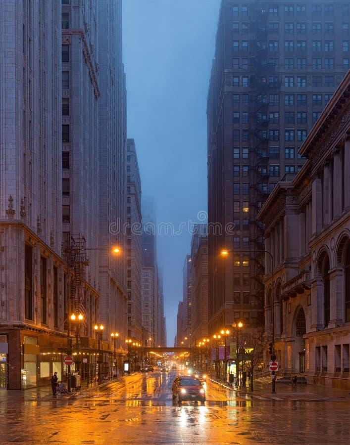 Een regenachtige dag in Chicago, Illinois, de V.S. stock afbeelding