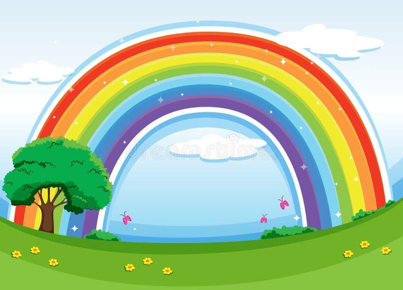 Een regenboog in de hemel stock illustratie
