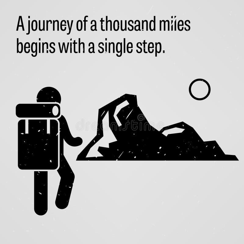 Een reis aan duizend mijlen begint met één enkele stap vector illustratie