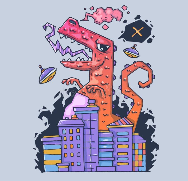 Een reusachtig monster vernietigt de stad De dinosaurus is de torpedojager Beeldverhaalillustratie voor druk en Web Karakter binn vector illustratie