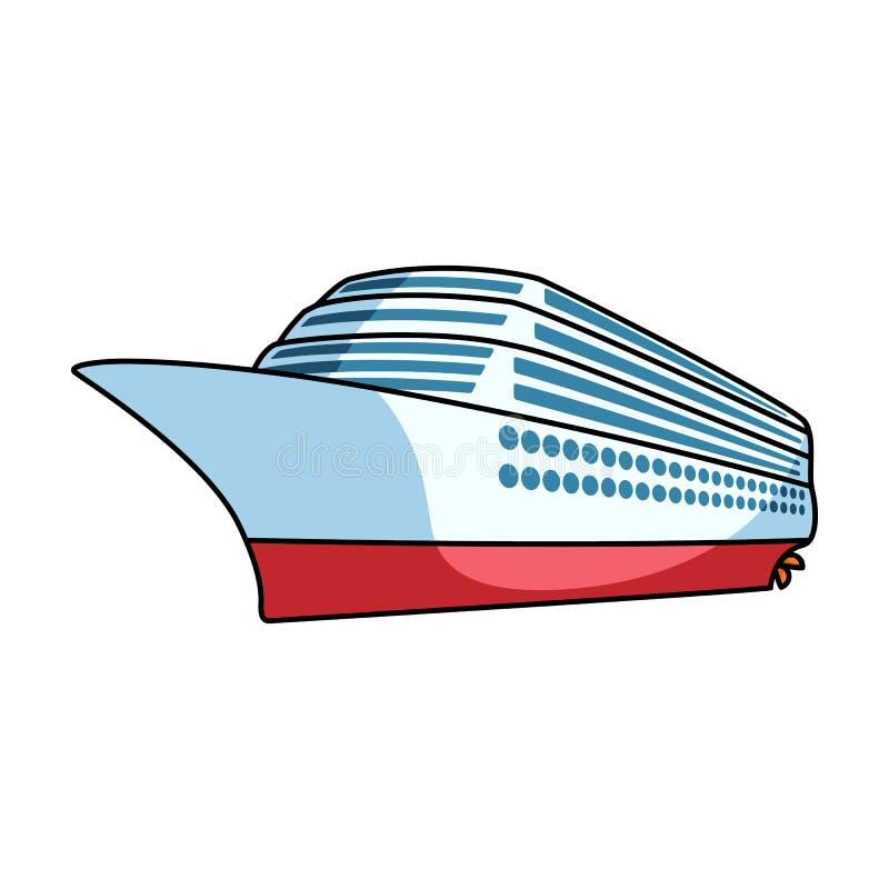 Een reusachtige cruisevoering Voertuig om over lange afstanden naar een reusachtig aantal mensen te reizen Schip en watervervoer royalty-vrije illustratie