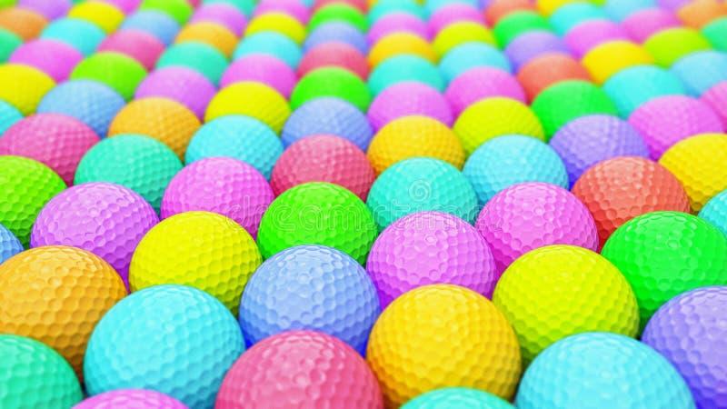 Een Reusachtige Trillende Serie van Kleurrijke Golfballen stock illustratie