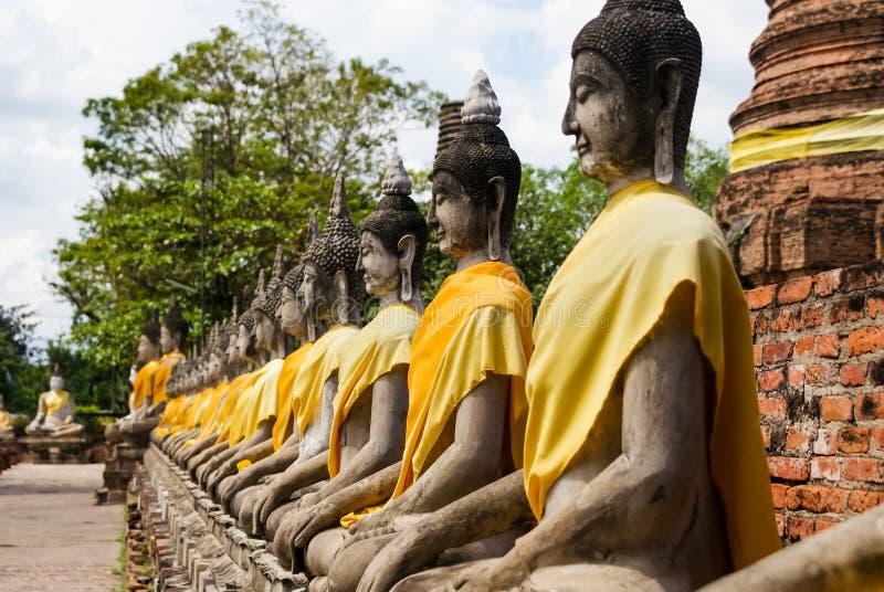 Een rij van de Standbeelden van Boedha stock foto