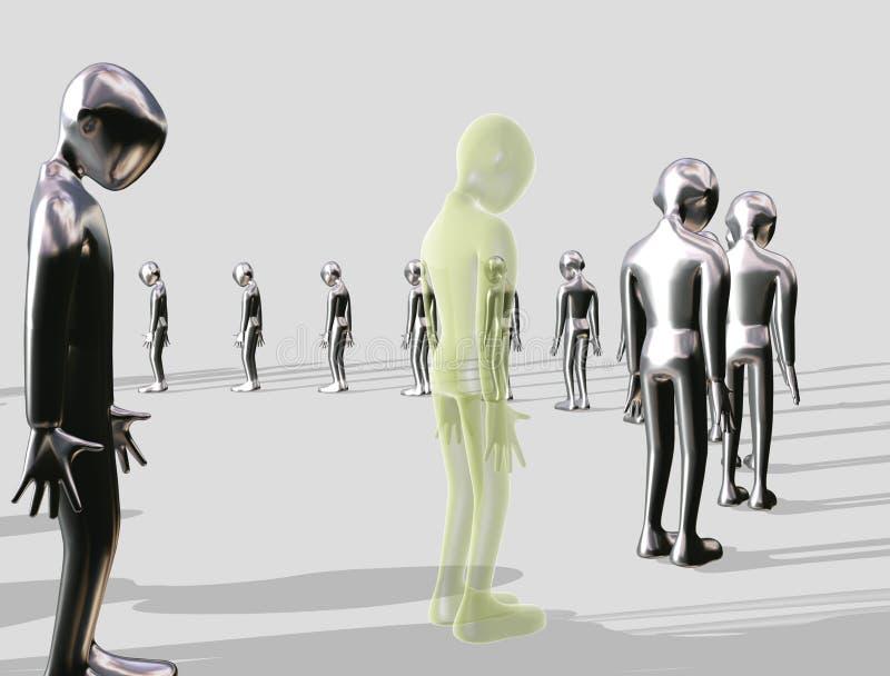 Een rij vormende aluminiumMens royalty-vrije illustratie