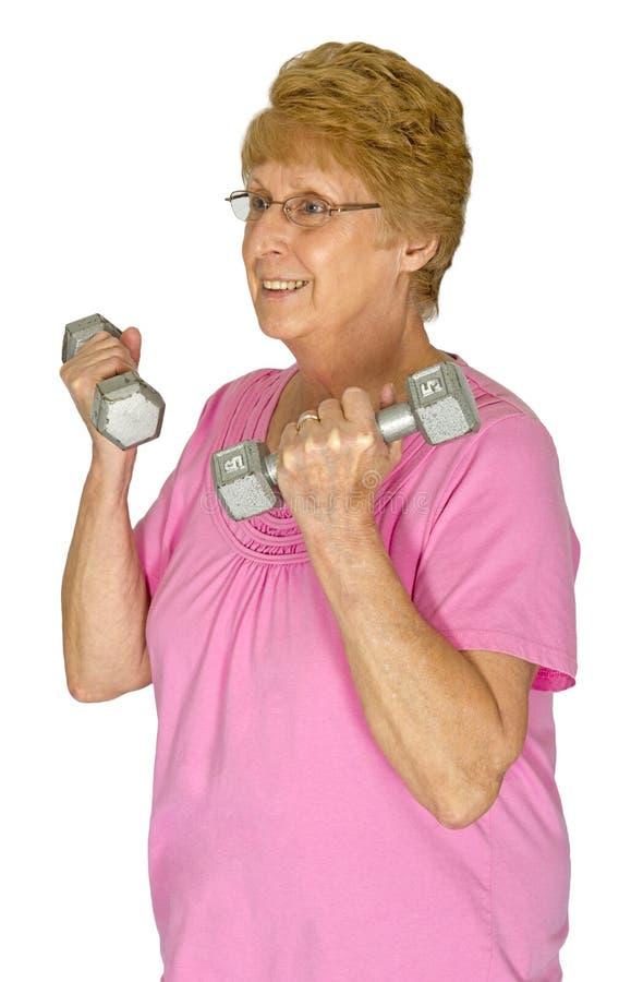 Rijpe Hogere Vrouw, Fysieke Therapie, Oefening royalty-vrije stock afbeelding