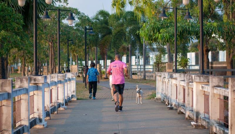 Een rijpe mens op roze overhemd loopt op de brug in park in avondtijd royalty-vrije stock foto