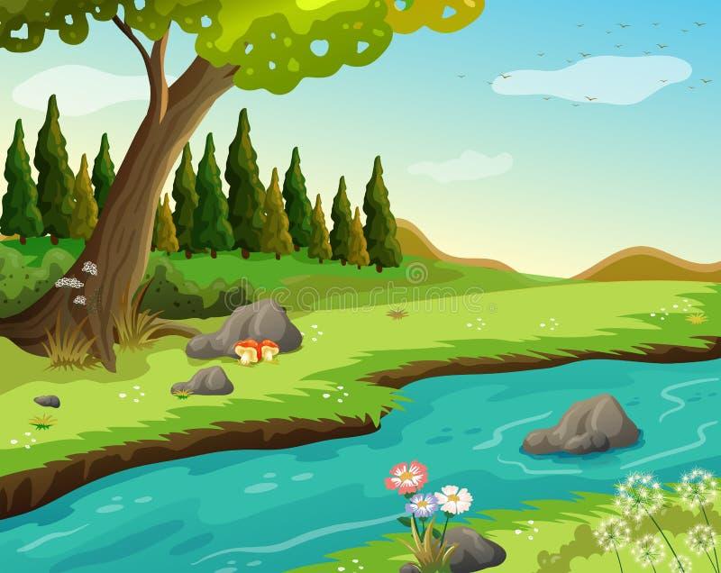 Een rivier bij het bos stock illustratie