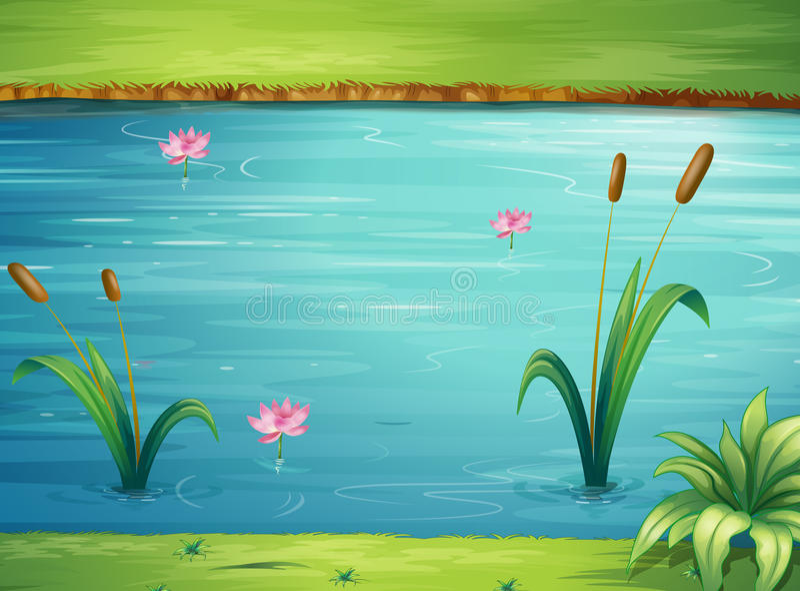 Een rivier en een mooi landschap royalty-vrije illustratie