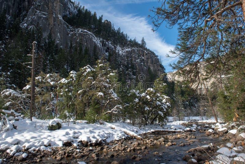 Een rivier neemt het sneeuw behandelde landschap, het Nationale Park van Yosemite door stock afbeelding